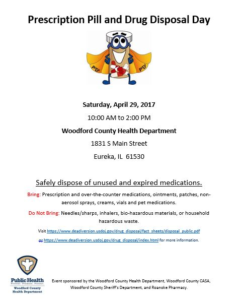 flier for Prescription Pill Disposal Day April 29, 2017 10 AM to 2 PM